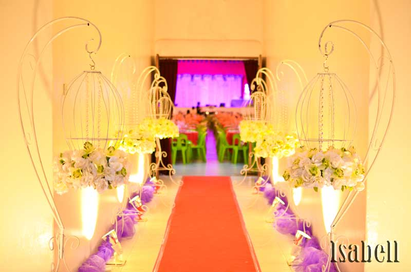 Wedding decoration at han chiang school hall penang elegance purple lavender junglespirit Images